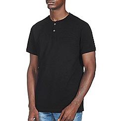 Burton - Black pique grandad t-shirt