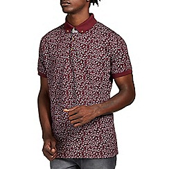 Burton - Burgundy leaf print polo shirt