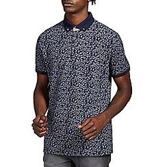 Burton - Navy leaf print polo shirt