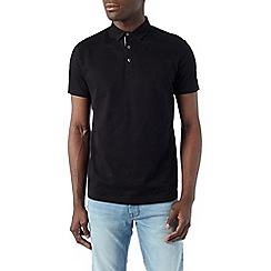 Burton - Black honeycomb texture polo shirt