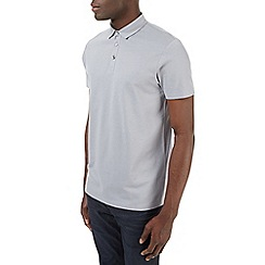 Burton - Grey honeycomb texture polo shirt