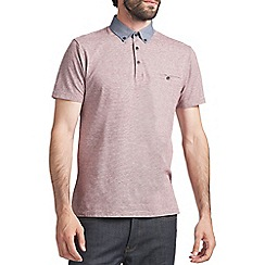 Burton - Burgundy feeder stripe polo shirt