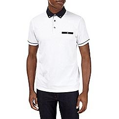 Burton - White woven collar polo shirt