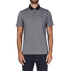 Burton - Navy and white jacquard polo shirt