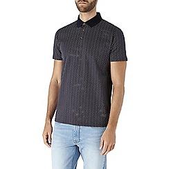 Burton - Navy ditsy print polo shirt