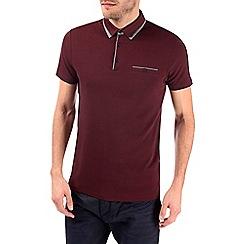 Burton - Burgundy double collar polo shirt