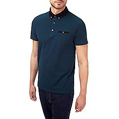 Burton - Teal two tone pique polo shirt