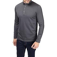 Burton - Montague burton charcoal jacquard polo shirt