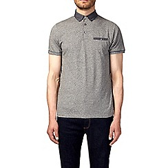 Burton - Grey jaspe woven collar polo shirt