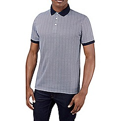 Burton - Navy ditsy printed polo shirt