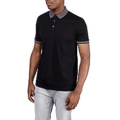 Burton - Black jacquard collar polo shirt