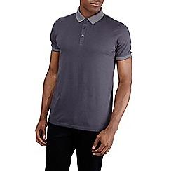 Burton - Charcoal jacquard collar polo shirt