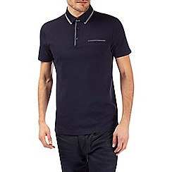 Burton - Navy double collar polo shirt