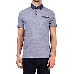 Burton - Navy blue textured collar polo shirt