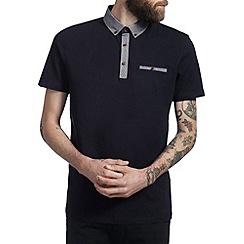 Burton - Navy blue oxford collar polo shirt