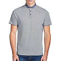 Burton - White & teal printed polo shirt