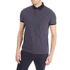 Burton - Navy smart jacquard polo shirt