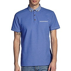 Burton - Blue printed collar smart polo shirt
