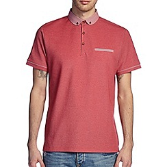 Burton - Red printed collar smart polo shirt