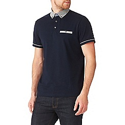 Burton - Navy polo shirt with check collar