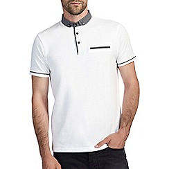 Burton - White polka dot collar polo shirt