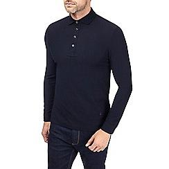 Burton - Montague burton navy jacquard long sleeve polo shirt