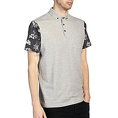 Burton - Grey polo shirt with floral sleeves