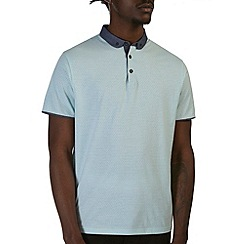 Burton - Printed mint penny collar polo shirt