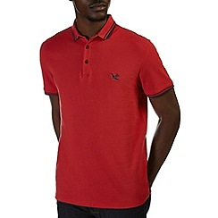 Burton - Red tipped pique polo shirt
