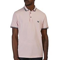 Burton - Pink tipped pique polo shirt