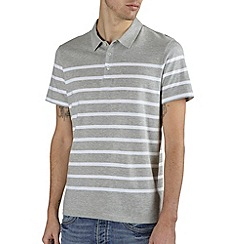 Burton - Grey & white stripe polo shirt