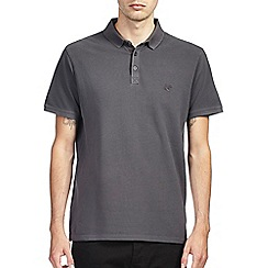 Burton - Grey washed casual pique polo shirt
