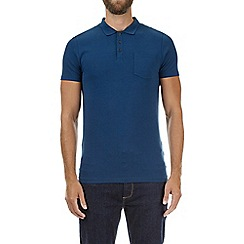 Burton - Petrol blue muscle fit polo shirt