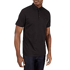 Burton - Black woven collar polo shirt