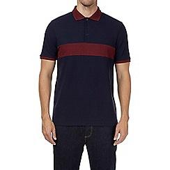 Burton - Burgundy and navy cut and sew panel polo shirt