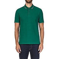 Burton - Green tipped pique polo shirt