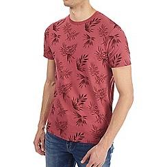 Burton - Pink leaf all over print t-shirt