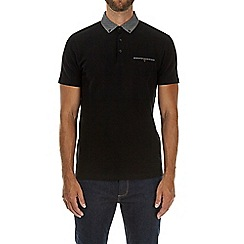 Burton - Black textured woven collar polo shirt