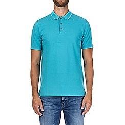 Burton - Turquoise tipped pique polo shirt