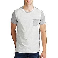 Burton - Ecru & grey contrast pocket t-shirt