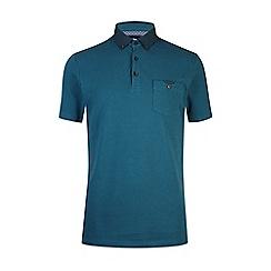 Burton - Teal woven collar polo shirt