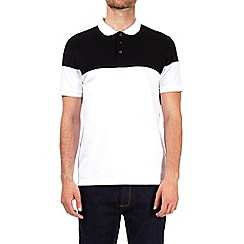 Burton - Black and white cut and sew polo shirt
