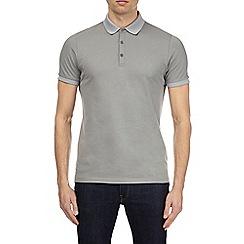 Burton - Chrome grey jacquard collar polo shirt