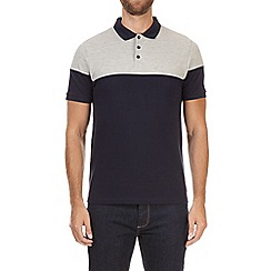 Burton - Grey and navy cut and sew polo shirt