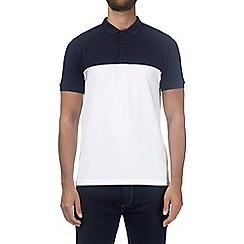 Burton - Navy and white pique cut and sew polo shirt