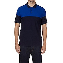 Burton - Navy and cobalt cut and sew polo shirt