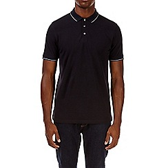 Burton - Navy tipped pique polo shirt