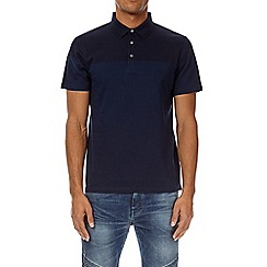 Burton - Navy and cobalt blue colour block polo shirt