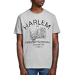 Burton - Grey harlem front print t-shirt