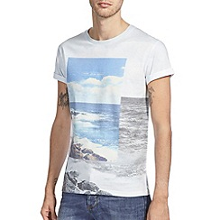 Burton - White & blue sea print t-shirt